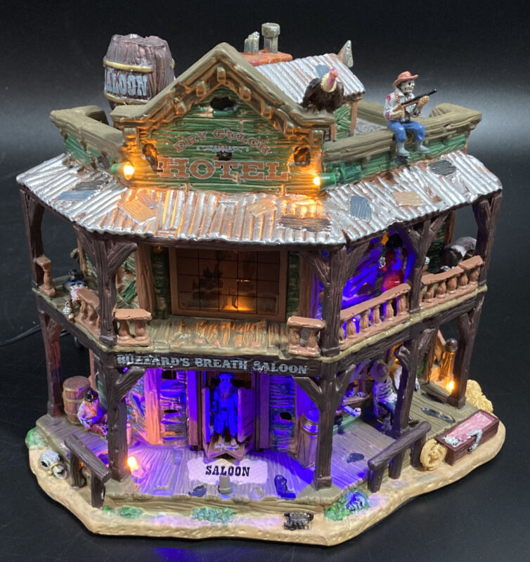 Lemax Spooky Town Dry Gulch Hotel Halloween Lights Up & Sound W/ Box Paper Work