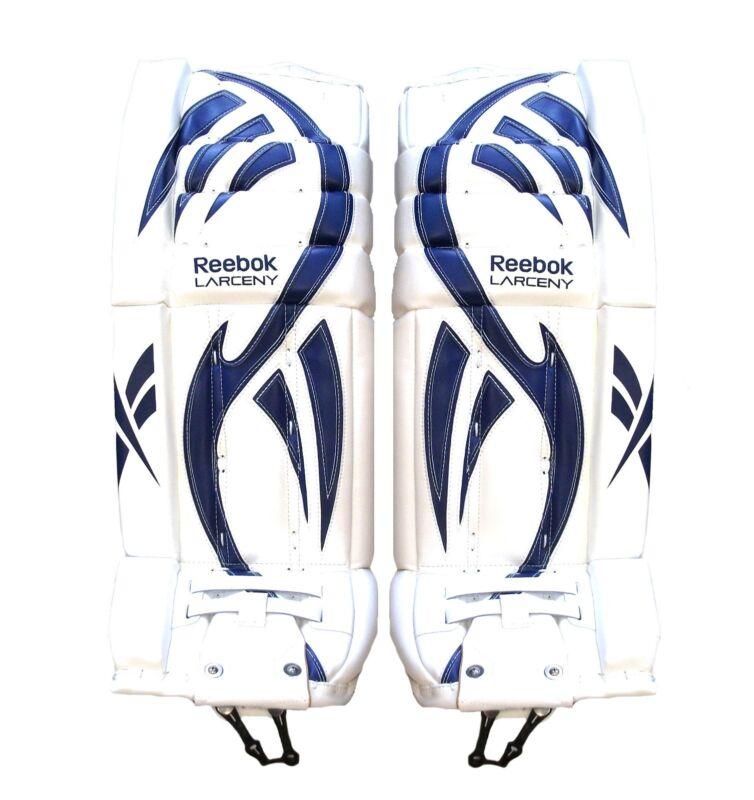 New Reebok Larceny Intermediate Pro ice hockey goalie leg pads 32+1 white blue