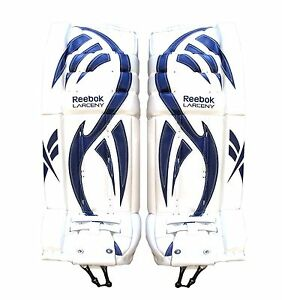 New Reebok Larceny Intermediate Pro ice hockey goalie leg pads 32+1 white blue