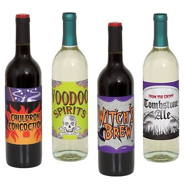 (Halloween WINE Bottle LABELS STICKERS Party Supplies 4 ct DECORATION )