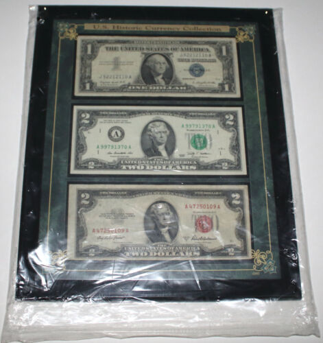 US Historic Currency Collection 1957A US $1 Silver Cert, 1953A & 2009 $2 (1 ea)