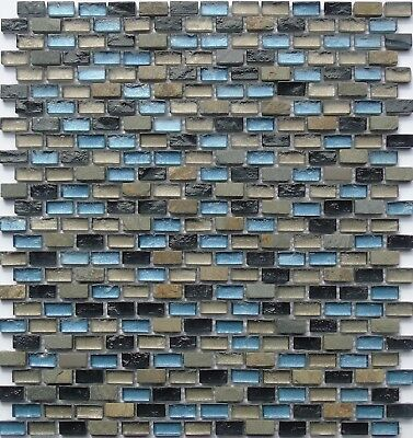 Mosaic Wall Tiles Black Blue Green Brown Stone Glass Mix Bathroom Shower 0126, used for sale  Shipping to Ireland