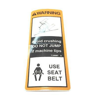 John Deere Oem Roll-over Warning Decal T146097 Nos