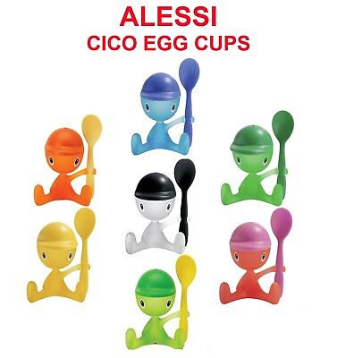 Alessi Cico Egg Cup - ALESSI Cico Egg Cup with Spoon and Salt Castor Various Colours FREE DELIVERY