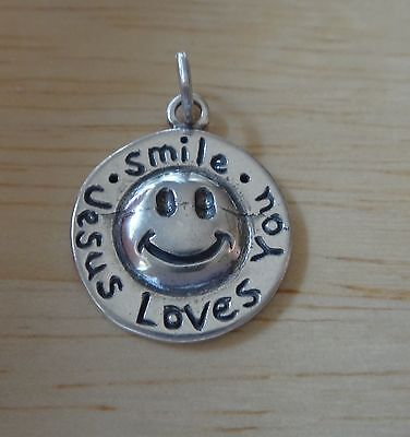 Sterling Silver 15mm Smile Jesus Loves You Smiley Face Charm