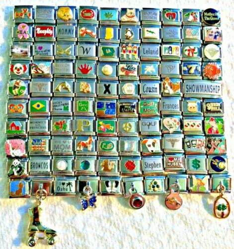 100 Piece ITALIAN  CHARMS 9mm lot # 398 No duplicates -FREE SHIPPING
