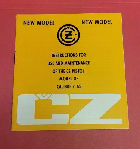 CZ Model 83 Cal 765 commercial manual