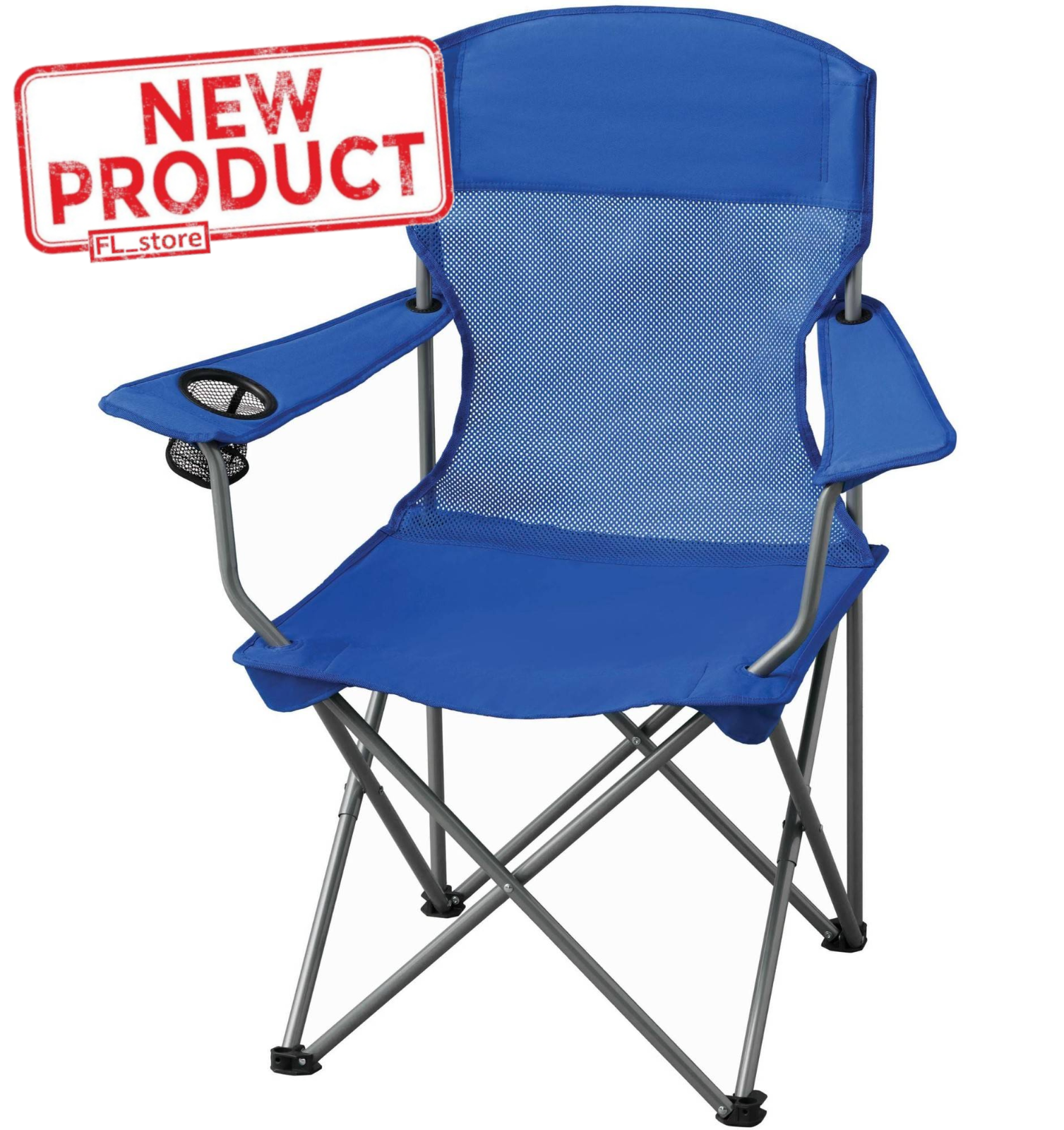 Folding Camp Chair Cup Holder Carrying Bag Outdoor Camping Events Durable Blue
