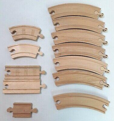 Lot of 12 Wooden Track Pieces Thomas The Train Brio Melissa & Doug Compatible
