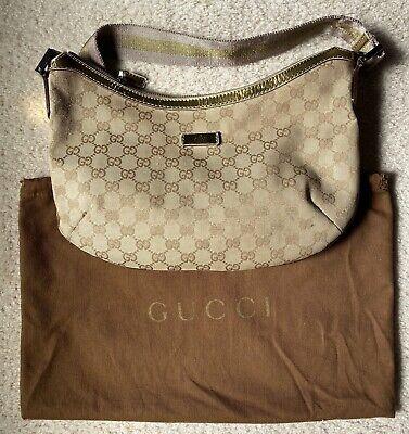 Vintage Gucci Monogram Crossbody Sling Bag Purse Gold Bronze Pink