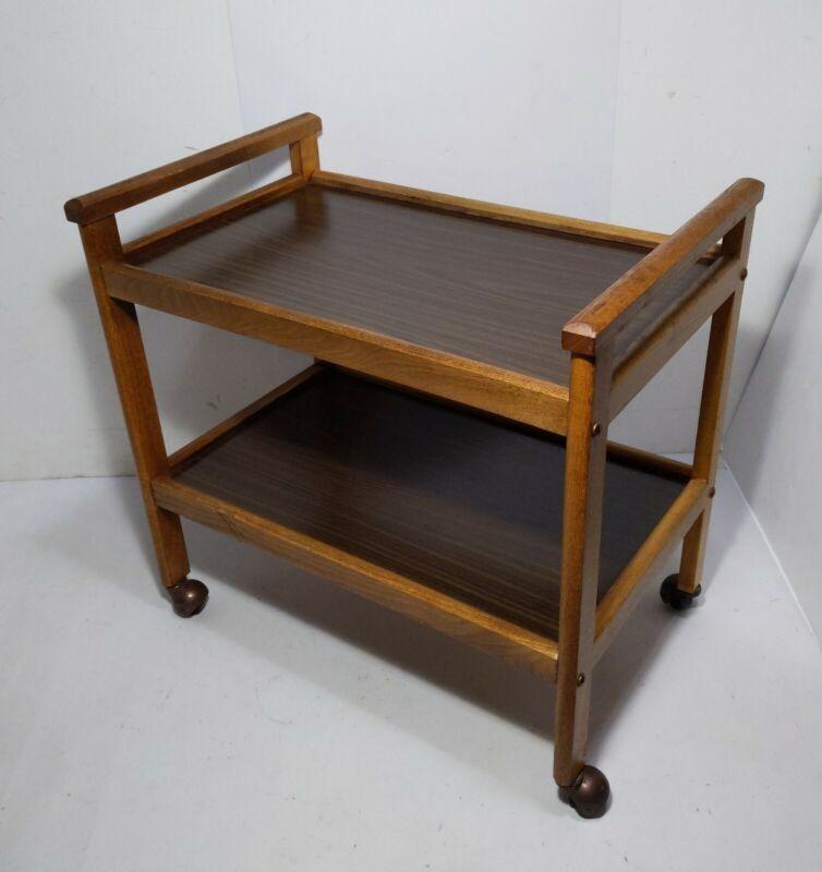 Vintage Mid Century Modern 2-Tier Wood Rolling Bar Serving Cart Rustic Mission B