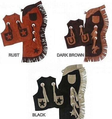 Tough-1 Real Suede Leather Kid's Vest & Chap Set Sizing Chart Below Horse Tack