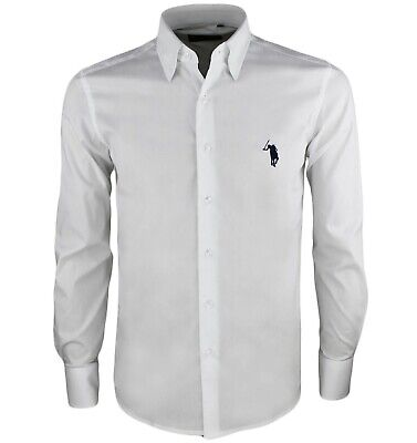 Camicia uomo slim fit manica lunga cotone elegante S M L XL XXL bianco blu RDV