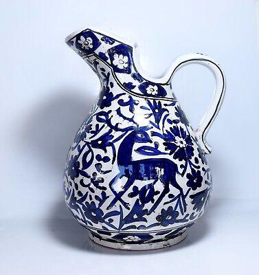 Used, Vintage Icaros Pottery Large Jug Vase Blue Ceramic / Rhodes Rodos Greek IKAROS for sale  Shipping to United States