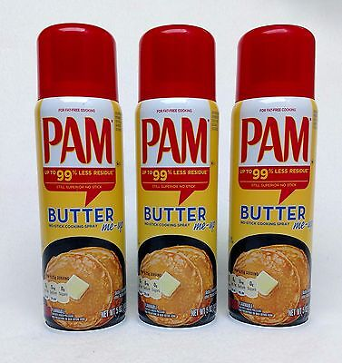 Fat Free Butter Spray - 3 PAM BUTTER No-Stick Fat Free Cooking Spray 5 oz