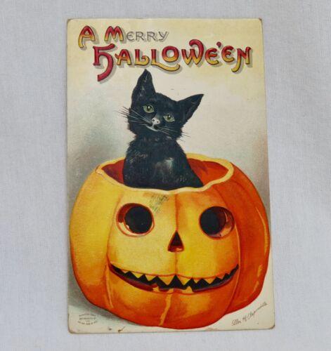 Vintage Halloween Postcard Cute Black Cat - 80648