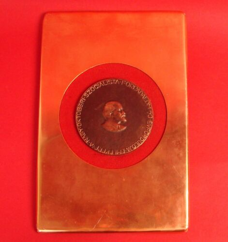 Soviet Russian October REVOLUTION 50YRS Communist Hungary Lenin Medal Plaque BIG