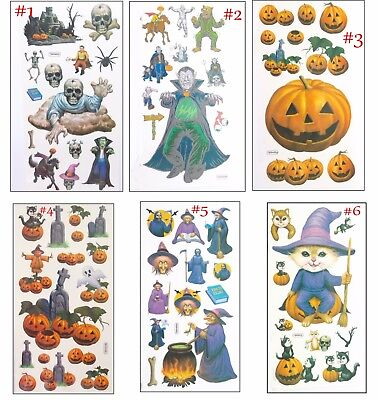 Halloween Temporary Body Tattoo -  Cartoon Cuties Pumpkins Witches Cats Mummy - Mummy Cartoon Halloween
