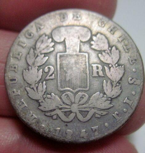1847 (SANTIAGO- CHILE) 2 REALES (SILVER) -- CONDOR --- very scarce
