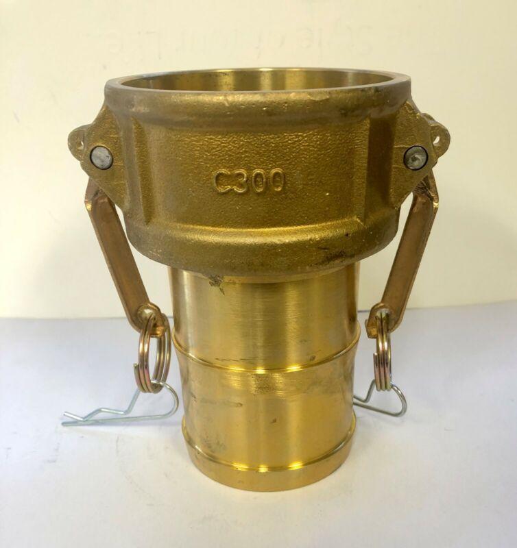 "Brass Camlock Fitting 3"" F Coupler x 3"" Hose Shank"