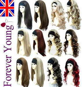 Ladies-Half-Wig-3-4-Wig-Fall-Clip-In-Hair-Extensions-Forever-Young-Wigs