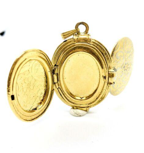 Vtg Double Hinged Picture Locket Gold Scrolls Flowers Art Nouveau Pendant