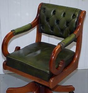 COMFORTABLE AGED GREEN LEATHER CHESTERFIELD CAPTAINS CHAIR NARROW TO FIT IN  DESK
