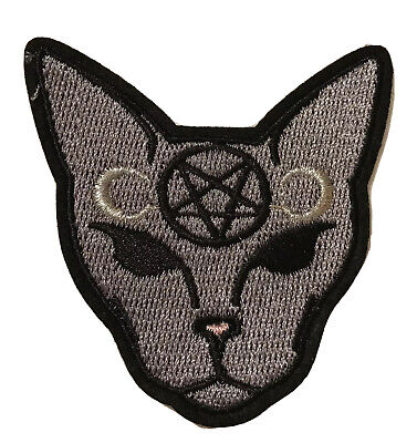 🎃 Pagan Goth Spinx Cat Embroidered Patch Black Pentagram Gothic Moon