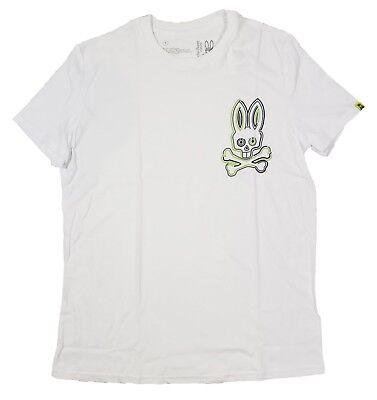 Psycho Bunny Men's White Large Glow Bunny Crew-Neck Short Sleeve -