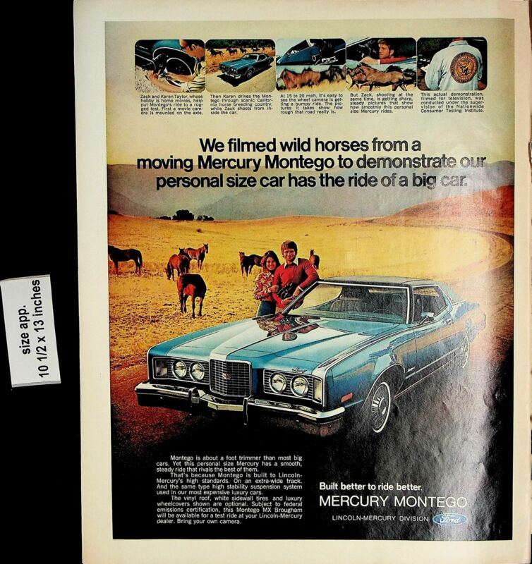 1972 Mercury Montego Wild Horses Car Outdoors Vintage Print Ad 5424
