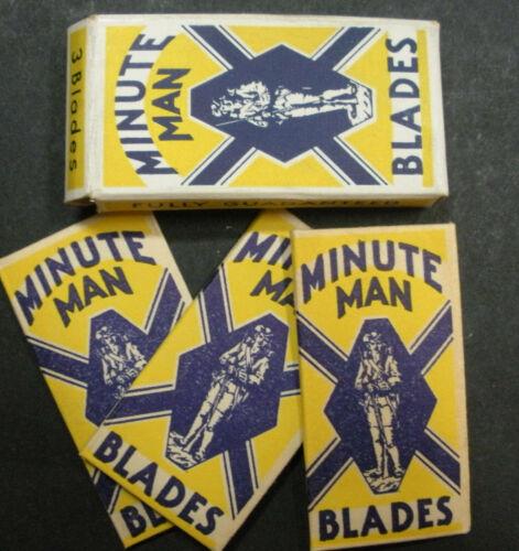 Vintage USA Razor Blades MINUTEMAN Pack of 3 Soldier in Uniform
