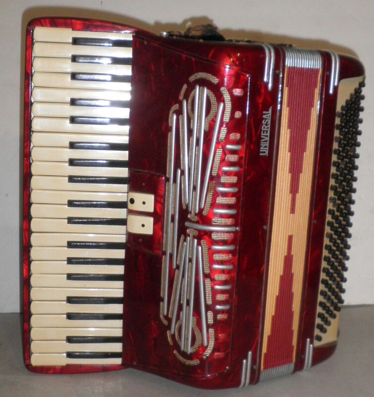 Vintage Universal Red Mother of Pearl Accordion with Case model 2420