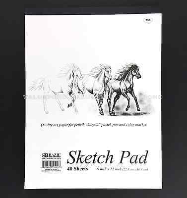 "SKETCH PAD 9"" X 12"" Paper Book 40 Sheets Quality Art Pencil Charcoal Pastel (F8)"