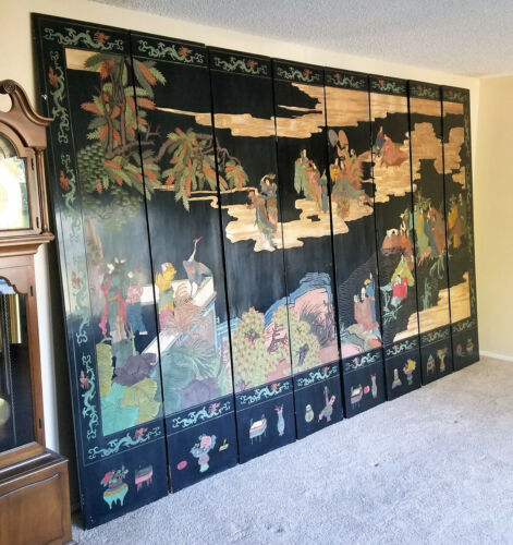 Vintage Asian CHINESE 8 PANEL ROOM DIVIDER Black Wood People Ducks Trees 8x13