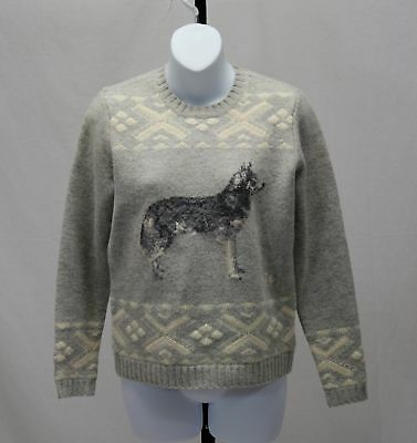 LAUREN Ralph Lauren Gray Lambswool Sweater Knit with Husky Malamute Dog Size S