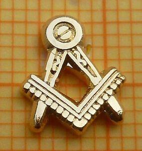 MASONIC PIN BADGE - Entered Apprentice Square & Compasses EA 9 mm - GILT  (13