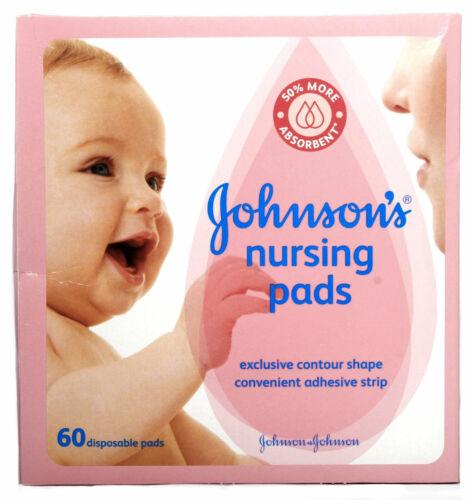 Johnsons NURSING PADS 60 Disposable Pads Contour Shape Adhesive NIB