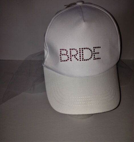 BRIDE Ball CAP WITH ATTACHED VEIL NEW Bachelorette Party Hat NWT Wedding Bridal