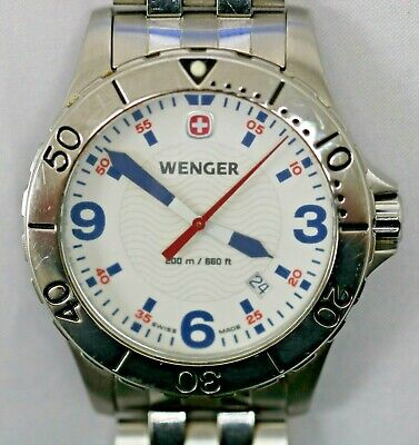 Wenger Men's Date Swiss Watch White Dial Blue Markers Stainless Steel 7217X