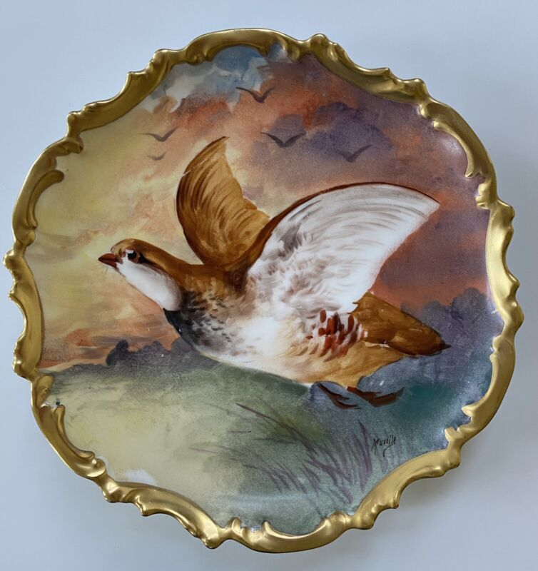 FRANCE CORONET LIMOGES HAND PAINTED BIRD PLATE ARTIST SIGNED PLATE  ROCCO EDGES