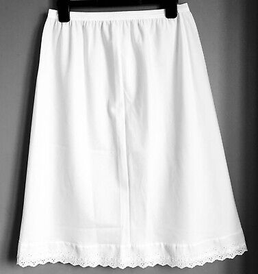 White Half Waist Slip Underskirt Knee Length Poly Cotton Lace Modest Petticoat  ()