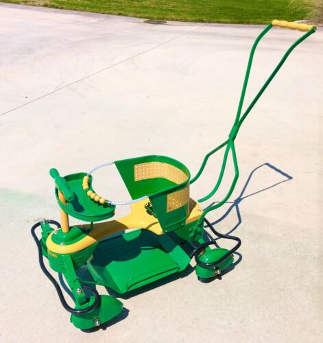 Vintage Taylor Tot Metal Stroller Walker with Fenders & John Deere Color scheme