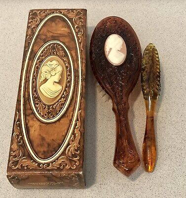 Vintage Avon Cameo Brush And Tortoise Brown Mini Brush