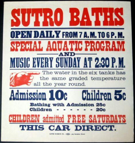 """SUTRO BATHS~RARE ANTIQUE 1897 SAN FRANCISCO 17""""x18"""" STREETCAR ADVERTISING POSTER"""
