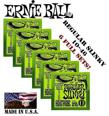 *6 SETS ERNIE BALL 2221 REGULAR SLINKY ELECTRIC GUITAR STRINGS 10-46 (2x3 PACK)*