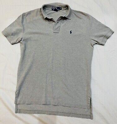 Ralph Lauren Mens Polo Short Sleeve Gray W/ Navy Horse SMALL Shirt