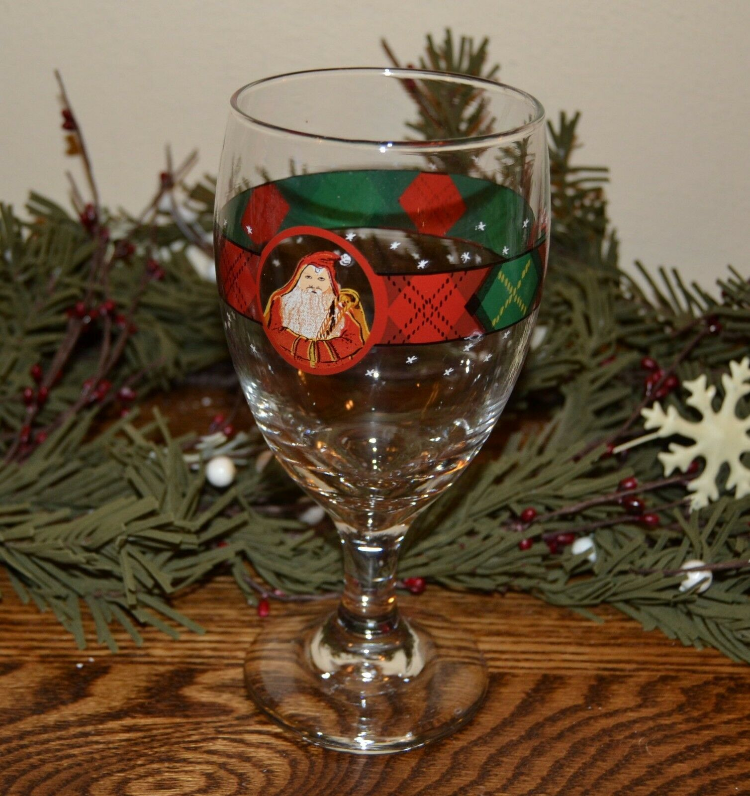 Block Father Christmas Santa Goblet Glass Glassware Plaid - $8.50