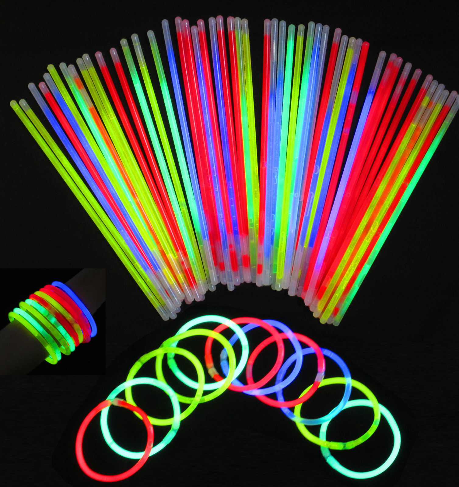 """Glow Sticks 8/""""Bracelets Necklaces Party Favors Neon Color 20 50 100 200"""