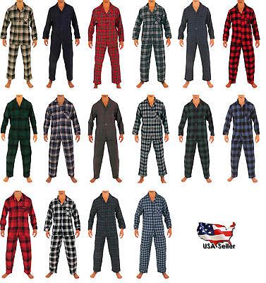 Flannel Mens Pajamas - Norty Mens Cotton Yarn Flannel Pajama Lounge Sleep Sets - 16 Prints Available