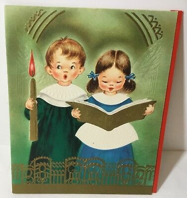 Vtg Embossed Christmas Card Choir Boy & Girl Holding Candle Book Gold Highlights Choir Christmas Card